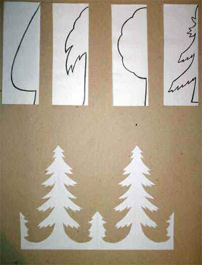 Зимний пейзаж из бумаги