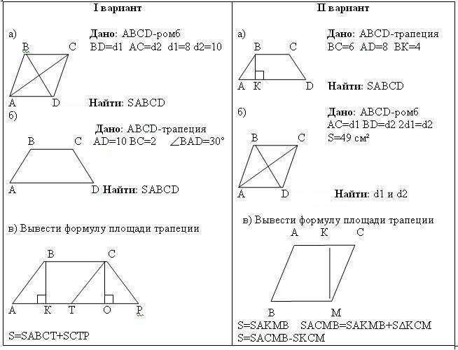 Решение задач по геометрии 8 класс площади t решить задачу на части
