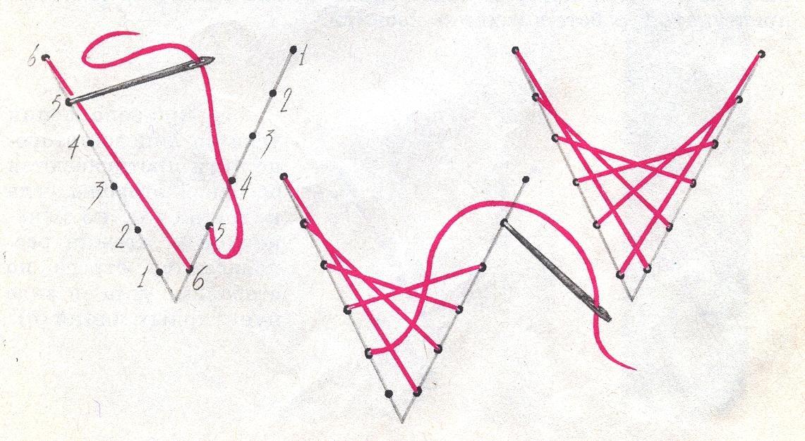 Схема шитья на картоне
