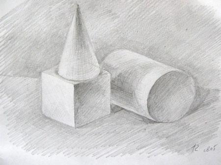 рисунок карандашом тени: