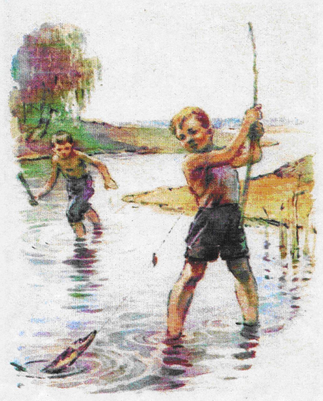 идут мальчишки на рыбалку