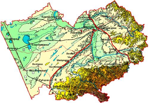 ней схема карты Алтайского