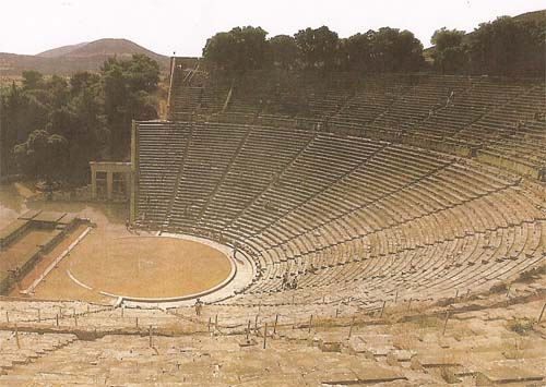 ancient greek theatre The ancient theatre of epidaurus was built of local stone on a natural slope of mt kynortion at the southernmost edge of the sanctuary of asklepios, the seat of the healer-god of antiquity and the greatest healing centre of the ancient greek and roman world.