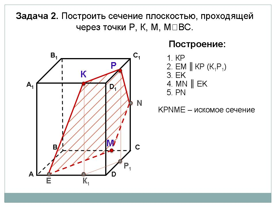 Презентацию построение сечений геометрия 10 класс