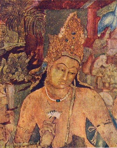 Будда.  Стенная роспись пещерного храма в Аджанте.  Деталь.  VII в.