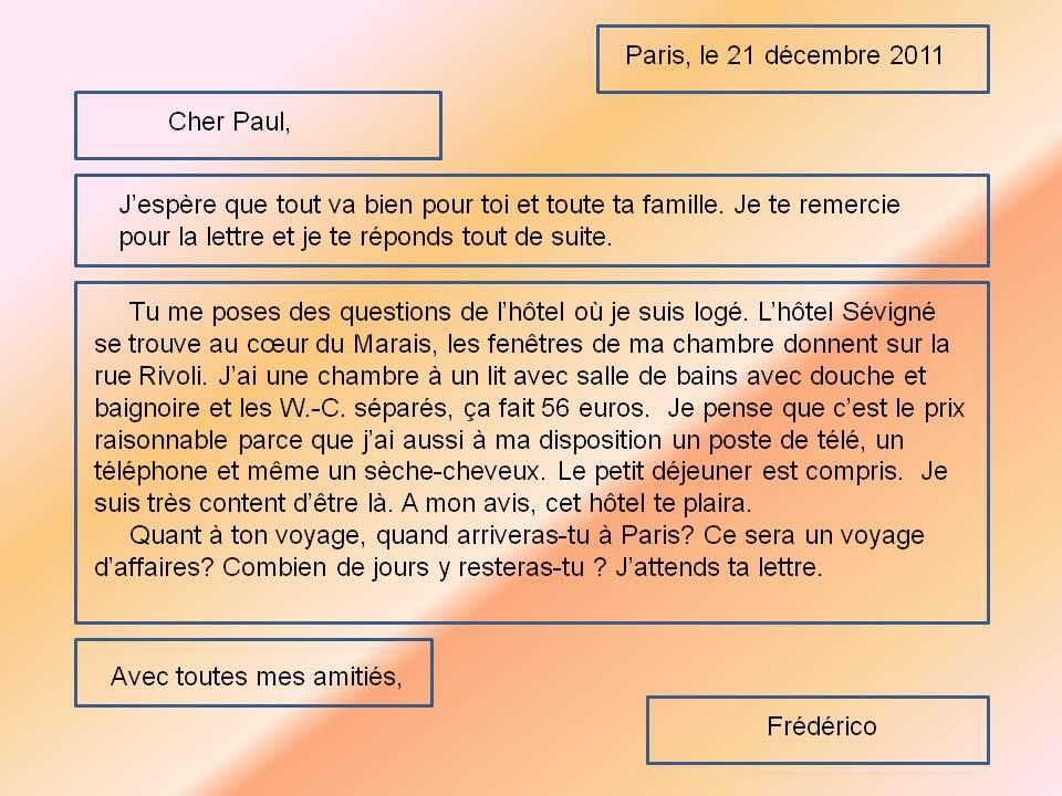 Как писать письмо на французском языке образец