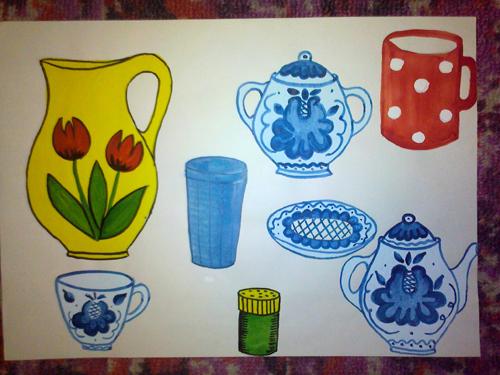 Посуда рисунки старшая группа