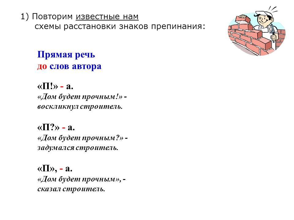 Схемы прямой речи п а п