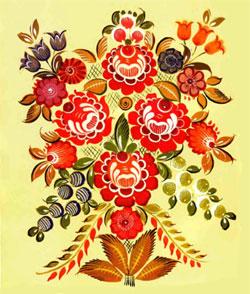 Листья из городецкой росписи