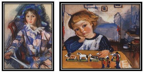 Картина прядильщица в бело голубом платье